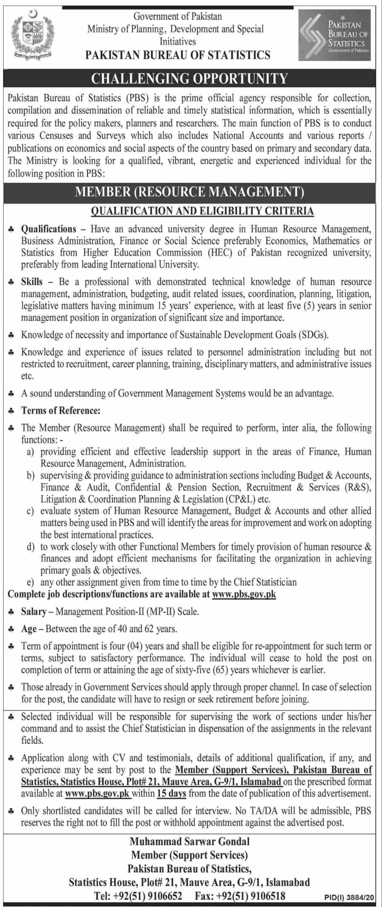 Pakistan Bureau of Statistics Job For Member In Islamabad