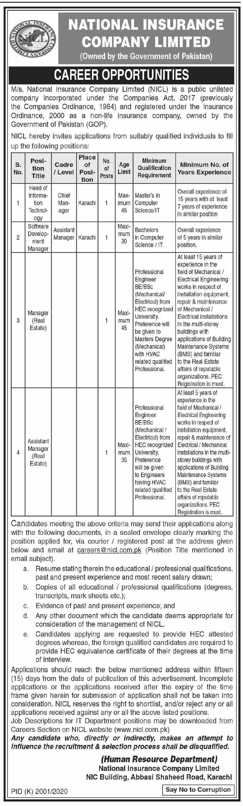 National Insurance Company Limited NICL Jobs 2021