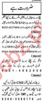 Nawaiwaqt Sunday Classified Ads 24 Jan 2021 General Staff