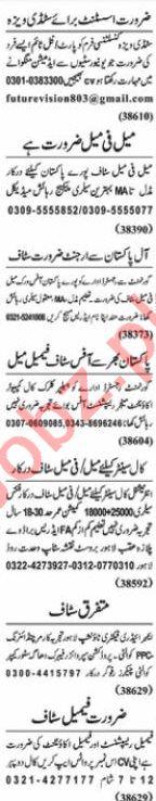 Nawaiwaqt Sunday Classified Ads 24 Jan 2021 for Office Staff