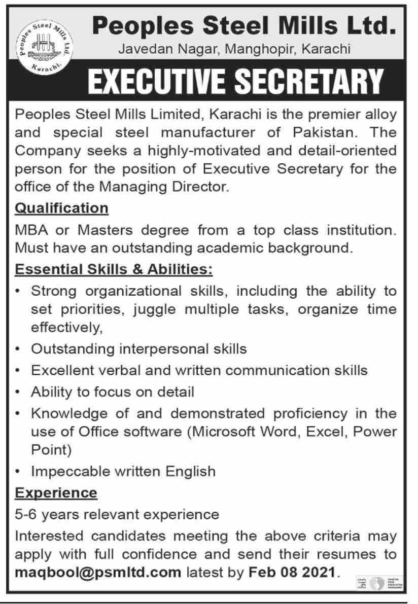 Peoples Steel Mills Limited Job 2021 For Executive Secretary