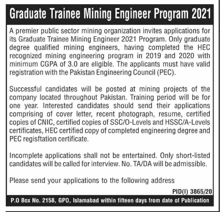 Public Sector Mining Organization Jobs 2021 in Islamabad
