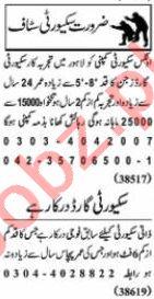 Nawaiwaqt Sunday Classified Ads 24 Jan 2021 for Security