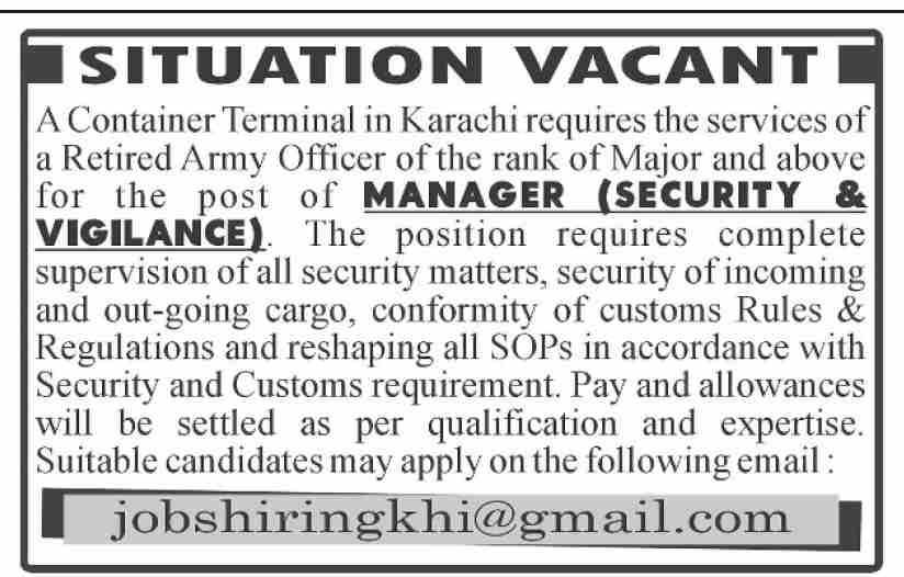 Manager Security & Vigilance Job 2021 in Karachi