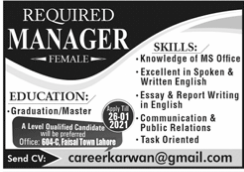 Manager Jobs 2021 in Lahore