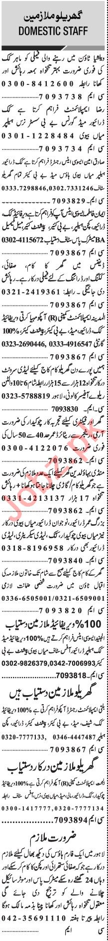 Jang Sunday Classified Ads 24 Jan 2021 for House Staff