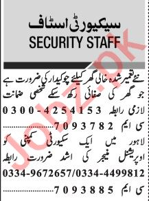 Jang Sunday Classified Ads 24 Jan 2021 for Security Staff