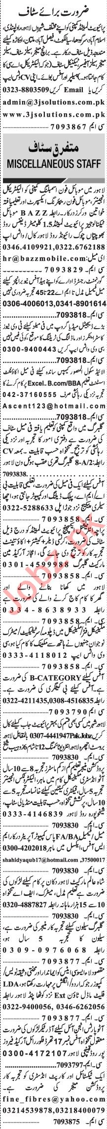 Jang Sunday Classified Ads 24 Jan 2021 for General Staff