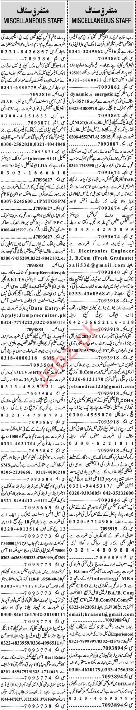 Jang Sunday Classified Ads 24 Jan 2021 for Multiple Staff