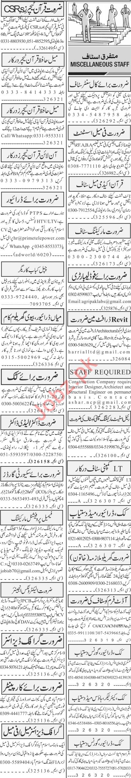 Jang Sunday Rawalpindi Classified Ads 24 Jan 2021