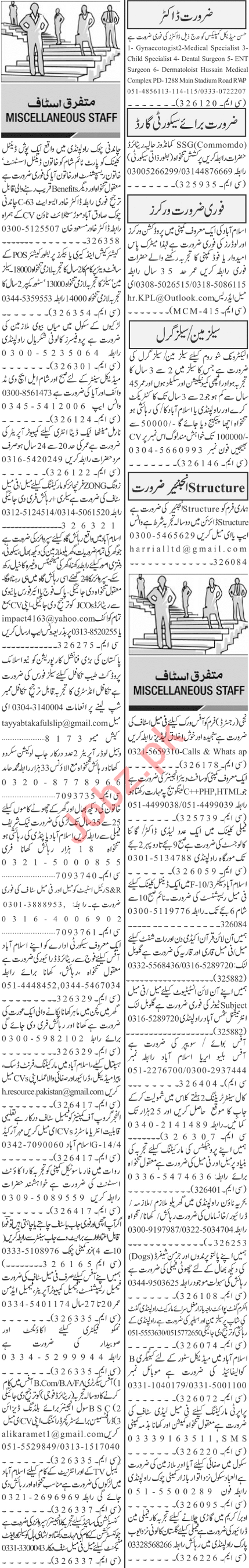 Jang Sunday Classified Ads 24 Jan 2021 for Office Staff