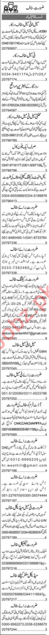 Express Sunday Islamabad Classified Ads 24 Jan 2021