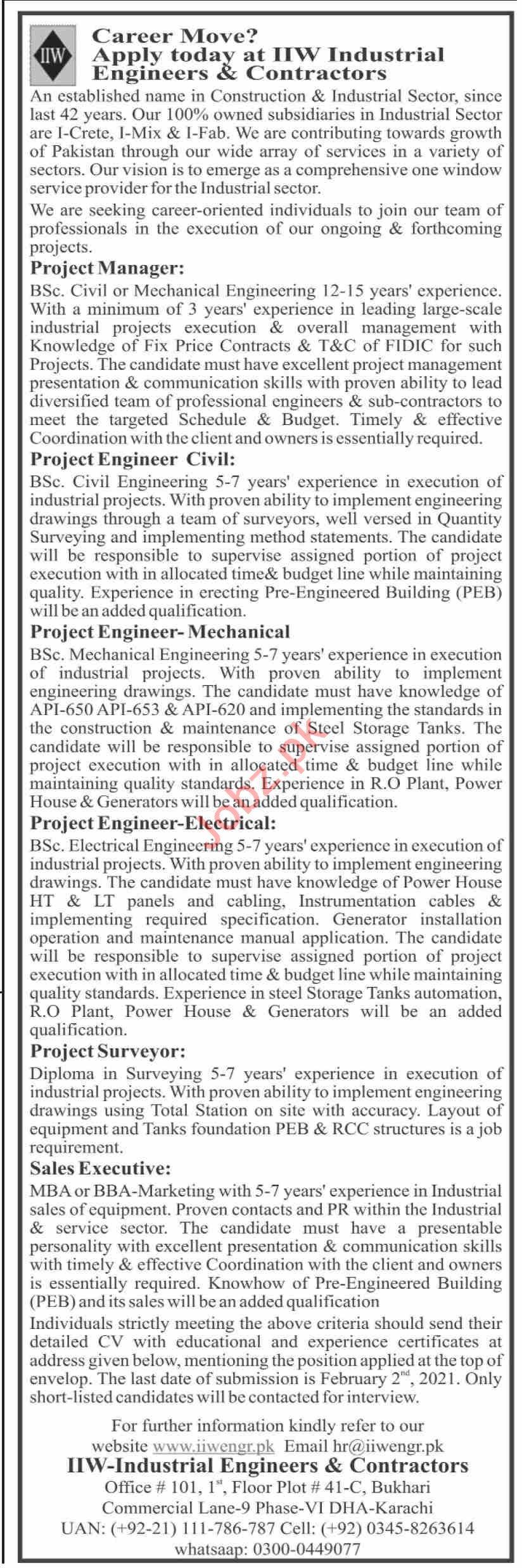 IIW Industrial Engineers & Contractors Karachi Jobs 2021