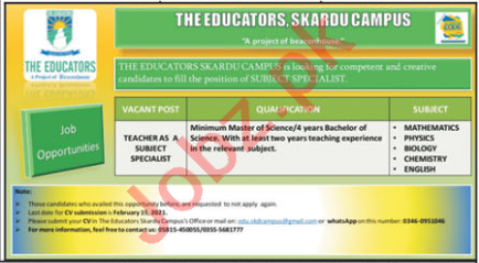 The Educators Skardu Campus Jobs 2021 for Subject Specialist
