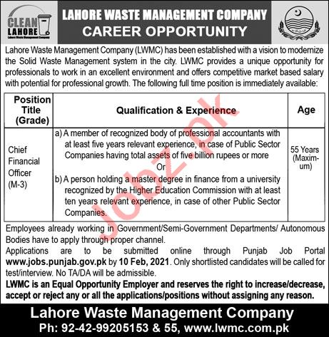 Lahore Waste Management Company LWMC Jobs 2021 for CFO