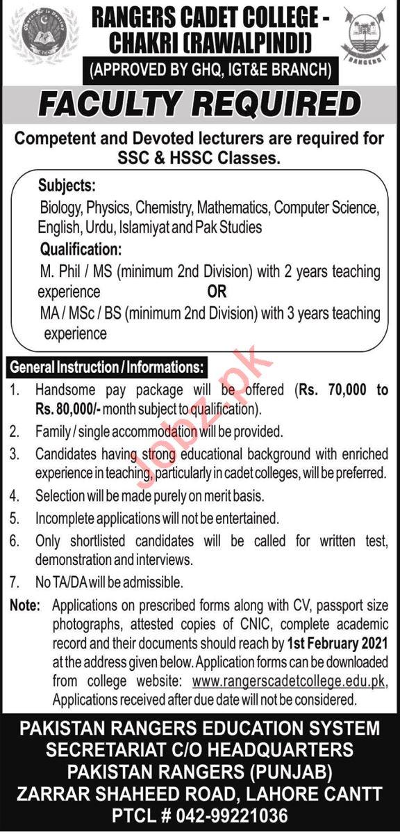 Rangers Cadet College Chakri Rawalpindi Jobs 2021