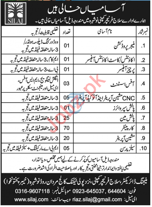 Silaj Furniture Nowshera Jobs 2021 for Manager Production