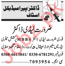Lady Doctor & Medical Officer Officer Jobs 2021 in Lahore