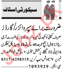 Security Supervisor & Security Guard Jobs 2021 in Lahore