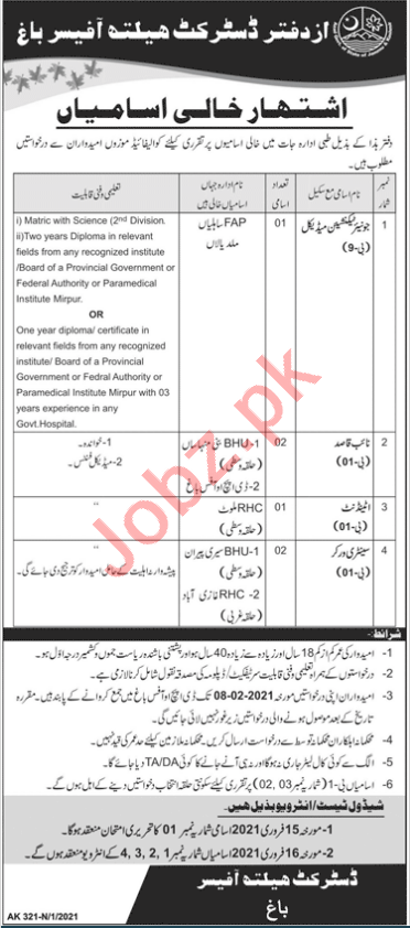 District Health Office Bagh Jobs 2021 for Junior Technician