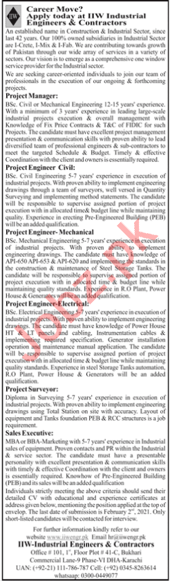 IIW Industrial Engineers & Contractors Jobs 2021 Engineers
