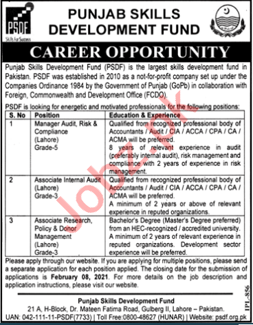 Punjab Skill Development Fund PSDF Lahore Jobs 2021