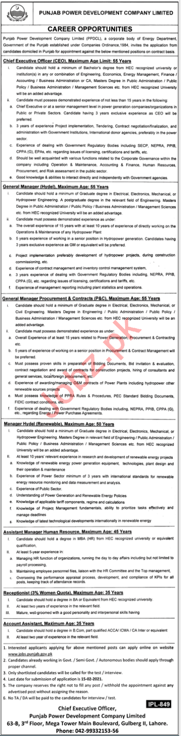 Punjab Power Development Company PPDCL Lahore Jobs 2021
