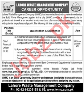 Chief Financial Officer Jobs 2021 in LWMC Lahore