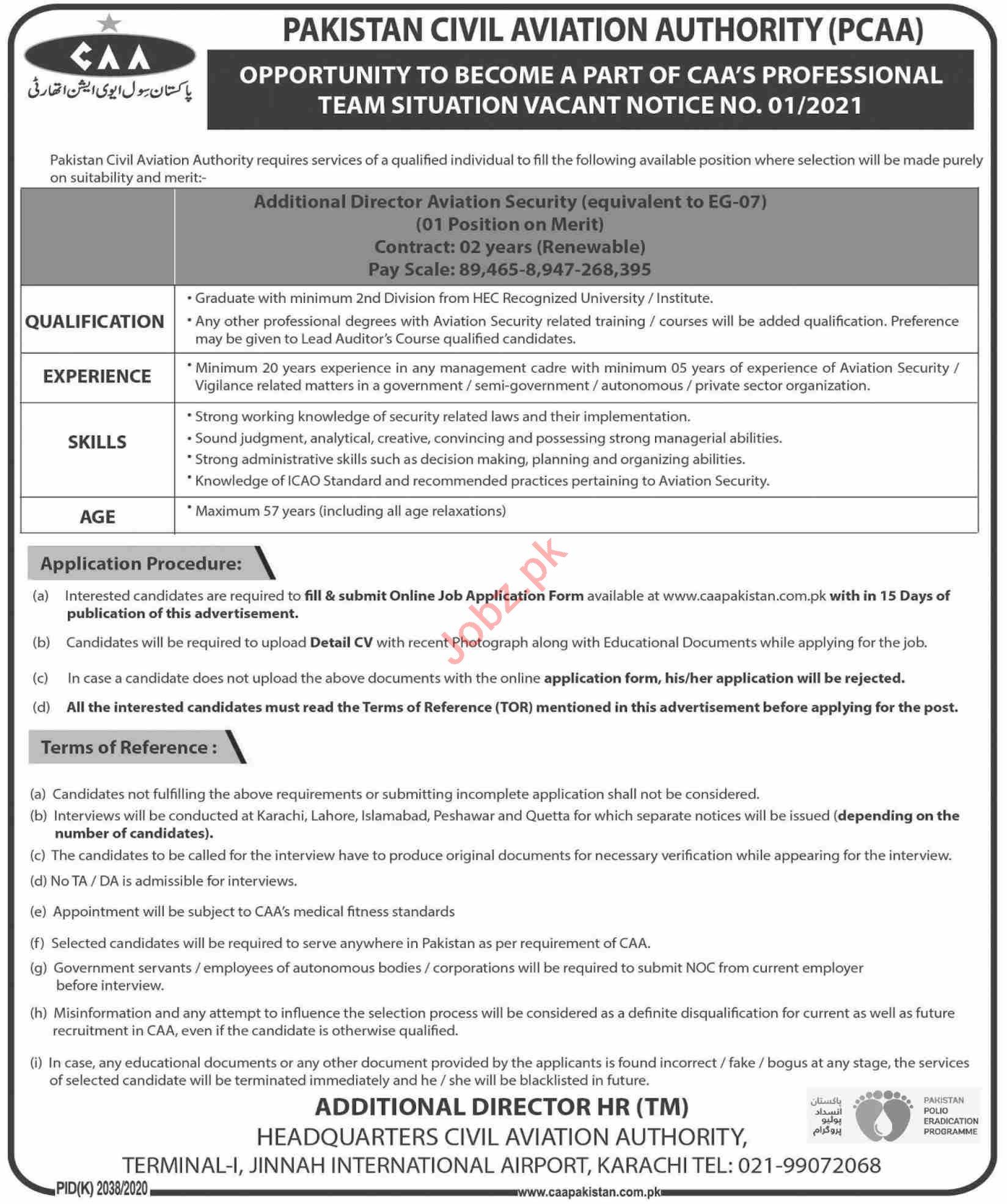 Pakistan Civil Aviation Authority PCAA Karachi Jobs 2021