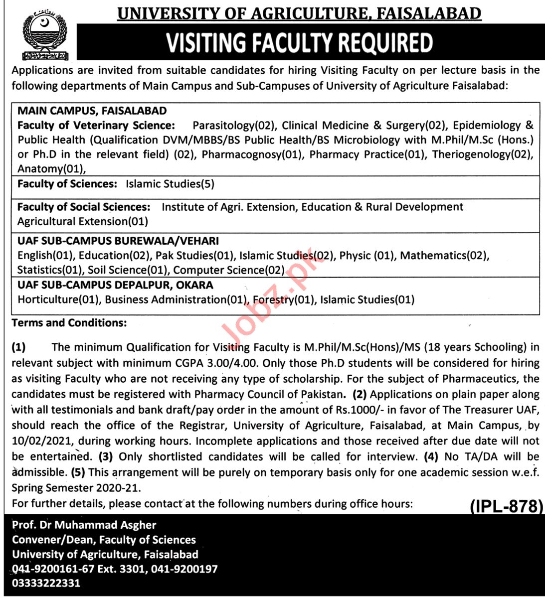 University of Agriculture Faisalabad UAF Jobs 2021