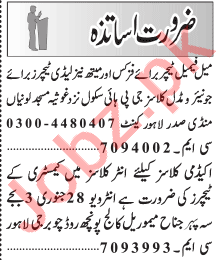 Principal & Teachers Jobs 2021 in Lahore