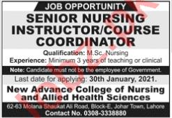 New Advance College of Nursing Islamabad Jobs 2021