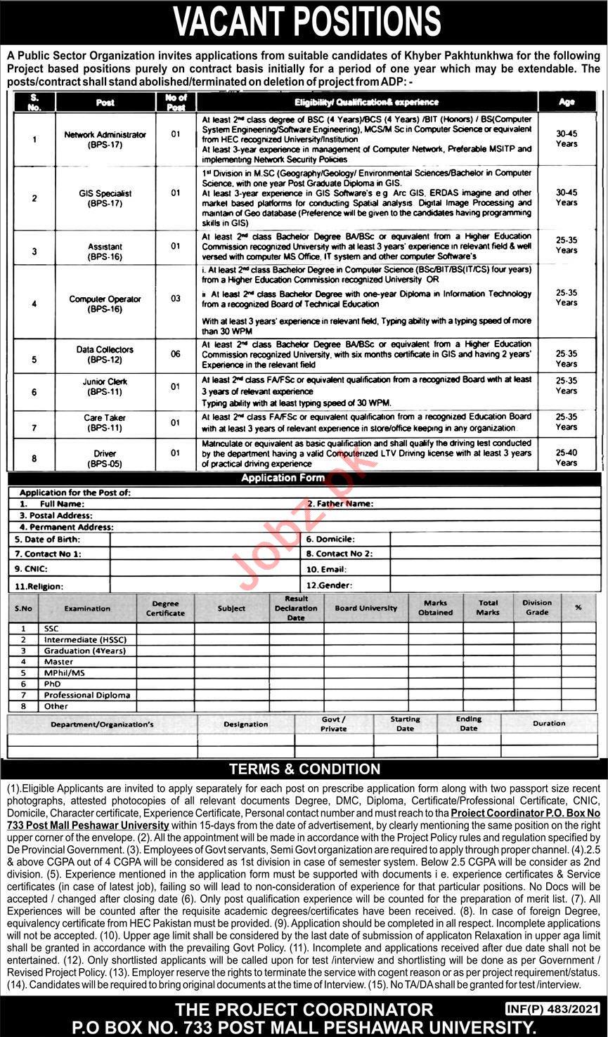 Post Box No 733 Post Mall Peshawar University Jobs 2021
