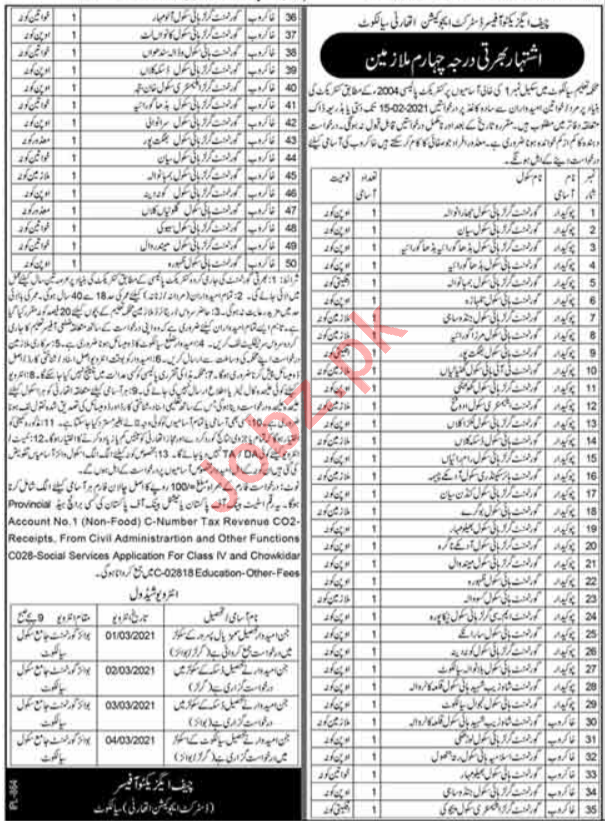 Education Department Sialkot Jobs 2021 for Chowkidar