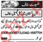 Admin Manager & Telephone Operator Jobs 2021 in Lahore