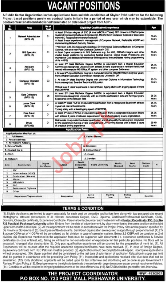 Network Administrator & GIS Specialist Jobs 2021 in Peshawar