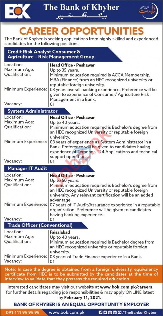 Bank of Khyber BOK Jobs 2021 for Manager IT Audit