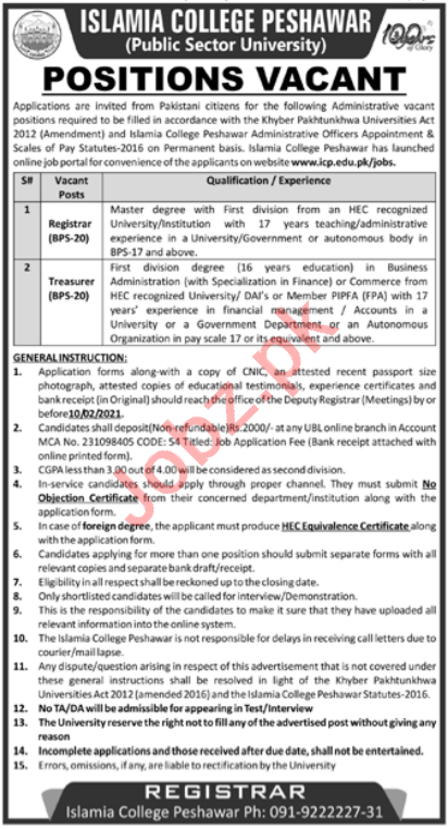 Islamia College University Peshawar Jobs 2021 for Registrar