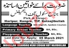Jinnah School of Excellence Kot Najibullah Jobs 2021
