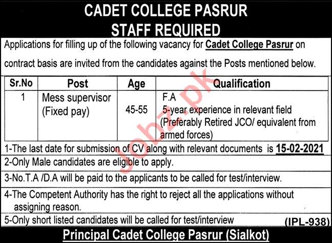 Cadet College Pasrur Jobs 2021 for Mess Supervisor
