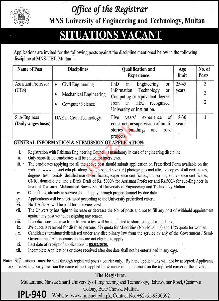 MNS University of Engineering & Technology Multan Jobs 2021
