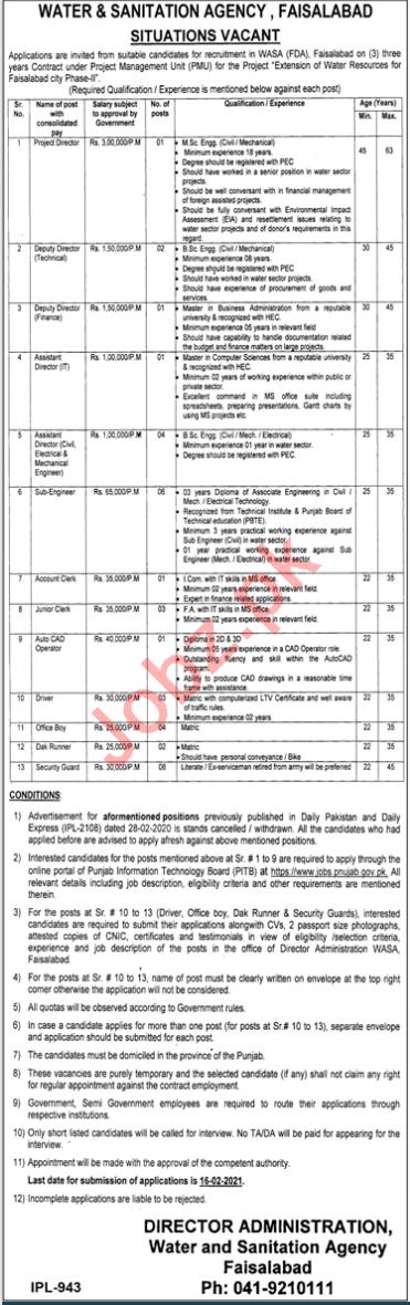Water & Sanitation Agency WASA Faisalabad Jobs 2021