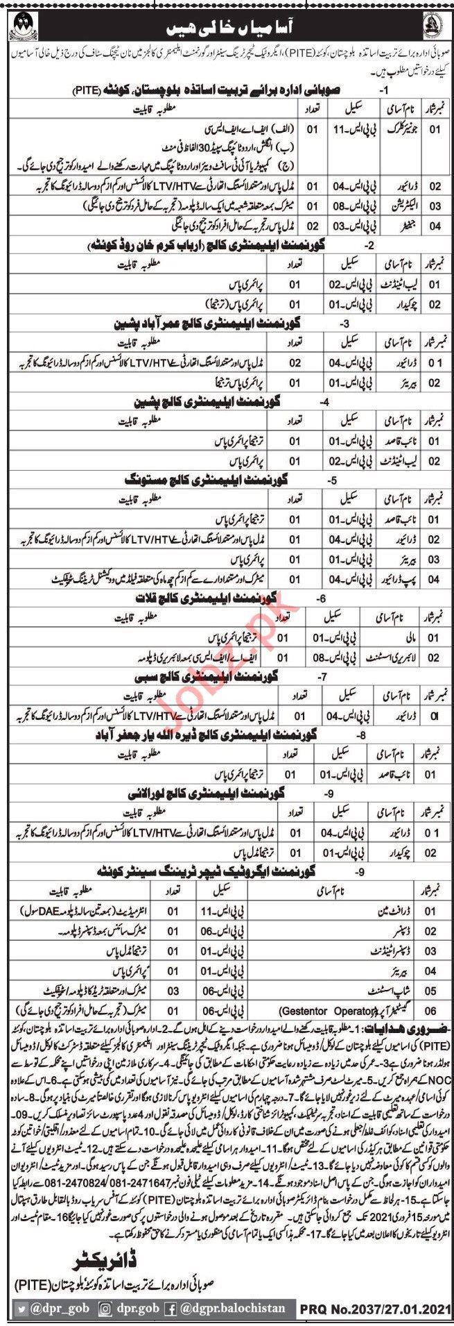 Provincial Institute for Teacher Education PITE Quetta Jobs