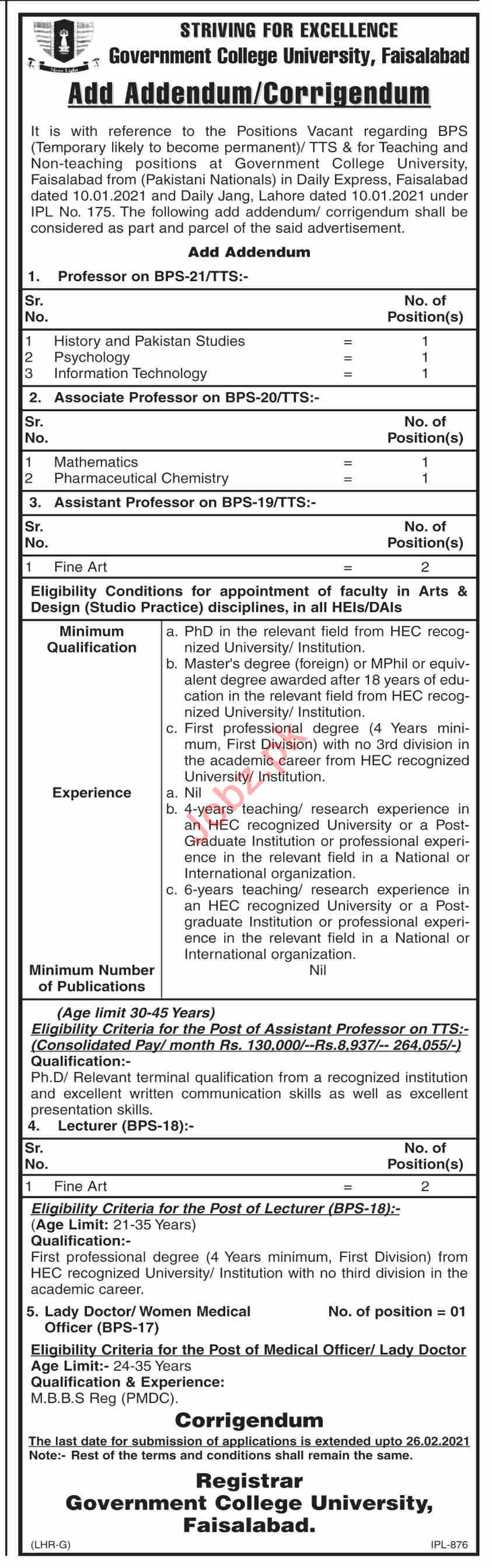 Government College University Faisalabad Faculty Jobs 2021
