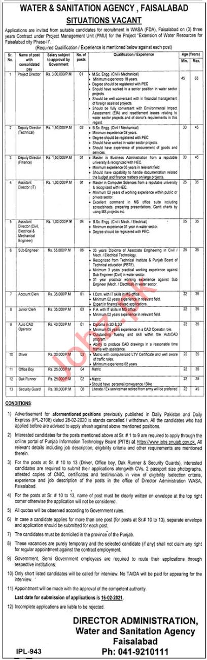 WASA Faisalabad Jobs 2021 for Deputy Director & Clerk