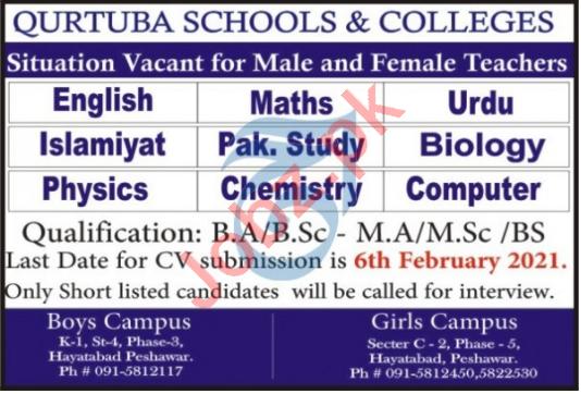 Qurtuba Schools & Colleges Peshawar Jobs 2021 for Teachers