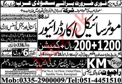 Motor Cycle Rider & Car Driver Jobs 2021 Saudi Arabia