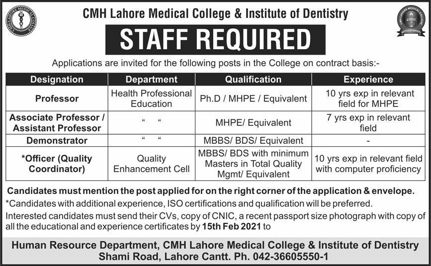 CMH Lahore Medical College & Institute of Dentistry Jobs