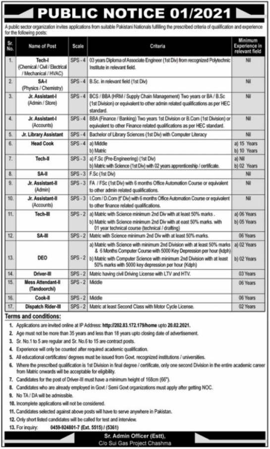 Public Sector Organization Jobs 2021 in Chashma