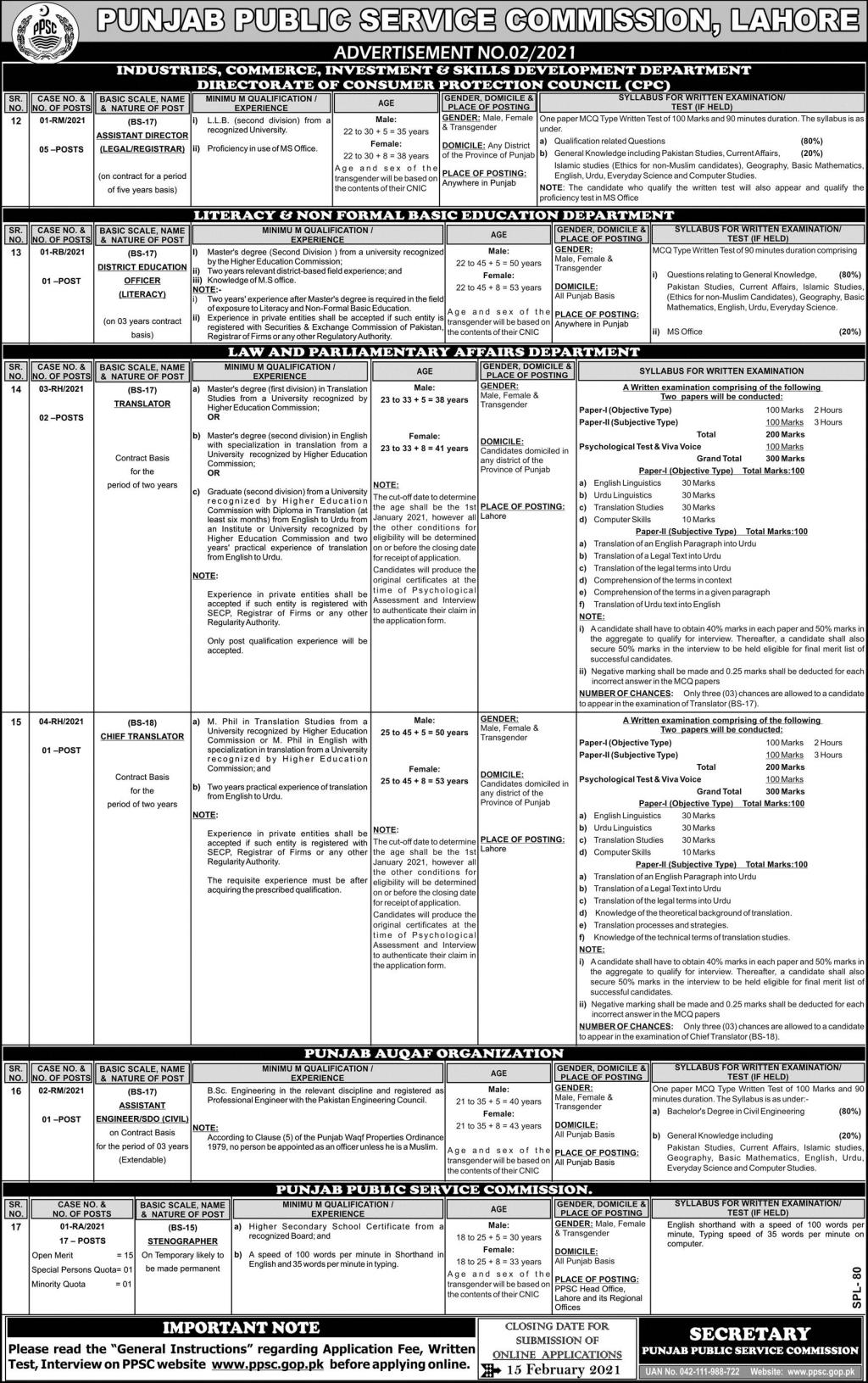 Punjab Public Service Commission PPSC February Jobs 2021